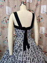 Load image into Gallery viewer, Vintage 1950s Dress • Black & White Rhinestone Dress •