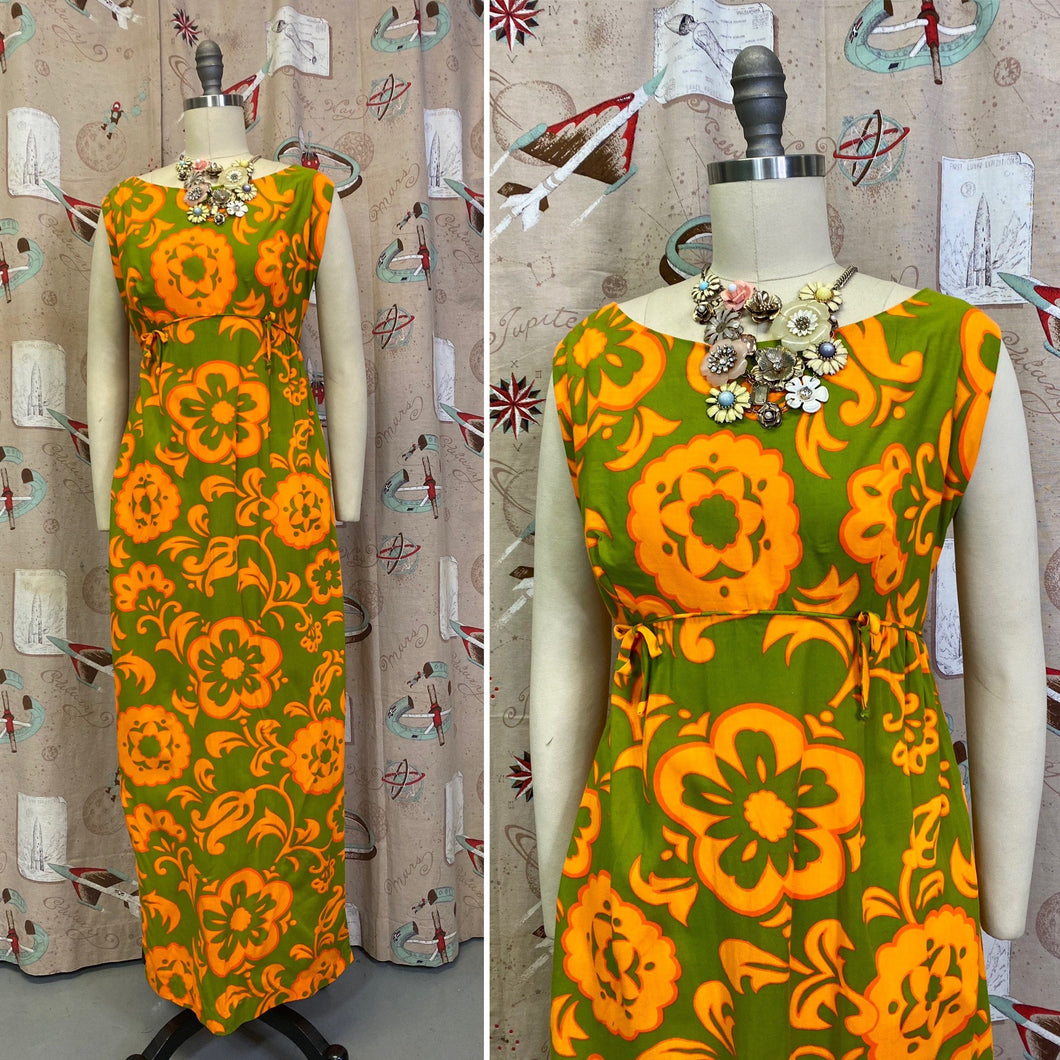 Vintage 1960s Dress • Bright & Bold Psychedelic Hawaiian Maxi Dress • Large