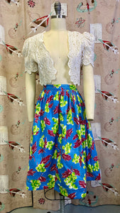 Vintage 1940s Skirt • Novelty Print Grape Linen Skirt • Large
