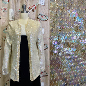 Vintage 1960s Cardigan • Rainbow Sequined Knit Long Cardigan • Large