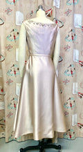 Load image into Gallery viewer, Vintage 1950s Dress • Champagne Satin Dress with Pearls and Rhinestones • Extra Small