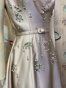 Vintage 1950s Dress • Champagne Satin Dress with Pearls and Rhinestones • Extra Small