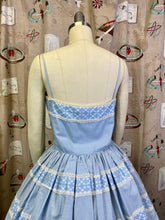 Load image into Gallery viewer, Vintage 1950s Dress • Darling Blue Gingham Saks Fifth Avenue Sun Dress • Small