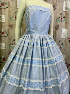 Vintage 1950s Dress • Darling Blue Gingham Saks Fifth Avenue Sun Dress • Small