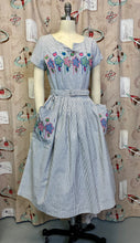 Load image into Gallery viewer, Vintage 1950s Dress • Blue Striped Floral Embroidered Dress with Pockets • Medium
