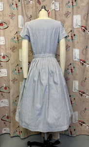 Vintage 1950s Dress • Blue Striped Floral Embroidered Dress with Pockets • Medium