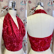 Load image into Gallery viewer, Vintage 1940s 1950s Blouse • Red Velvet Rose Halter Top • Small