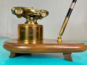 Vintage 1950s Trophy • MCM Convertible Race Car Rally Desk Trophy & Pen Holder