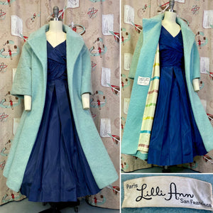 Vintage 1960s Coat • Lilli Ann Designer Light Blue Mohair & Rainbow Lining Swing Coat • Medium