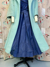 Load image into Gallery viewer, Vintage 1960s Coat • Lilli Ann Designer Light Blue Mohair & Rainbow Lining Swing Coat • Medium