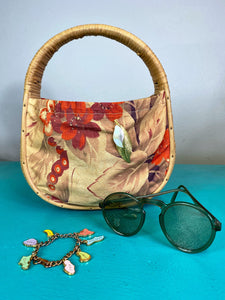 Vintage 1940s Handbag • Straw and Floral Butterfly Barkcloth Purse