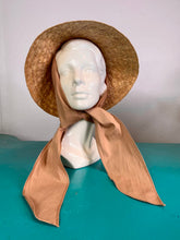 Load image into Gallery viewer, Vintage 1950s Hat • Straw Sun Hat with Tan Scarf Tie Sash • One Size