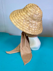 Vintage 1950s Hat • Straw Sun Hat with Tan Scarf Tie Sash • One Size