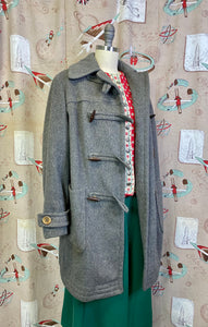 Vintage 1940s Coat • Grey Wool Duffle Coat with Toggle Buttons • Medium to Large