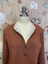 Load image into Gallery viewer, Vintage 1940s Suit • Milk Chocolate Knitwear Jacket and Skirt Set • Medium Large