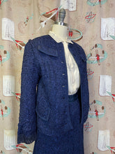 Load image into Gallery viewer, Vintage 1950s Suit • Royal Blue Ribbon Knit Jacket & Skirt Set • Large to XL
