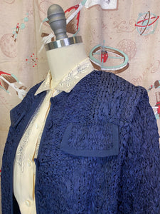 Vintage 1950s Suit • Royal Blue Ribbon Knit Jacket & Skirt Set • Large to XL