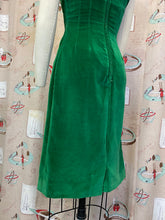 Load image into Gallery viewer, Vintage 1950s 1960s Dress • Green Soft Velvet Wiggle Dress • Small