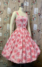 Load image into Gallery viewer, Vintage 1950s Dress * Pink Rose Print Rayon Dress and Matching Crop Jacket * Small to Medium