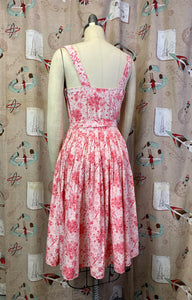 Vintage 1950s Dress * Pink Rose Print Rayon Dress and Matching Crop Jacket * Small to Medium
