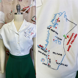"Vintage 1940s Shirt • Hand-Embroidered ""Greetings from California Rayon Blouse • Small"