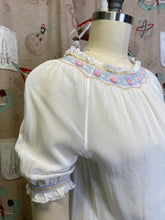 Load image into Gallery viewer, Vintage 1940s Blouse • White Smocked Peasant Top with Pink Flowers • Small