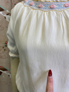 Vintage 1940s Blouse • White Smocked Peasant Top with Pink Flowers • Small