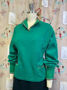 Vintage 1950s Sweater • Forest Green Pullover Sweater with Pockets • Medium to Large