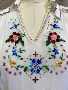 Vintage 1940s Blouse • Silk Embroidered Peasant Shirt with Smocking • Small to Medium