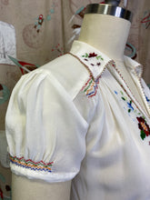 Load image into Gallery viewer, Vintage 1940s Blouse • Silk Embroidered Peasant Shirt with Smocking • Small to Medium