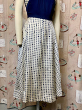 Load image into Gallery viewer, Vintage 1950s Dress • Blue Jersey and Polka Dot Silk Day Dress • Small to Medium