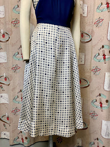 Vintage 1950s Dress • Blue Jersey and Polka Dot Silk Day Dress • Small to Medium