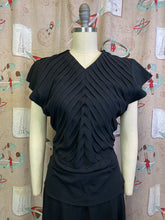 Load image into Gallery viewer, Vintage 1940s Dress • Elegant Black Crepe Dress with Pleated Bust & Peplum • Small