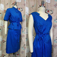 Load image into Gallery viewer, Vintage 1960s Dress Set • Blue Chevron Notch Cut Dress with Matching Jacket & Belt • Medium