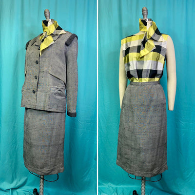 Vintage 1960s Suit • 4 Piece Flecked Grey Ladies Suit with Chartreuse Plaid Accents • Small to Medium