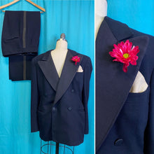 Load image into Gallery viewer, Vintage 1930s Suit • Black Double Breasted Textured Lapel Gentlemen's Tuxedo • Size 38 Chest