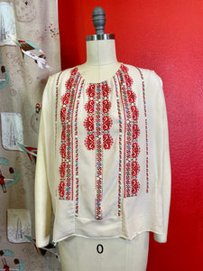 Vintage 1930s Blouse * Silk Embroidered Hungarian Style Peasant Blouse * Small to Medium