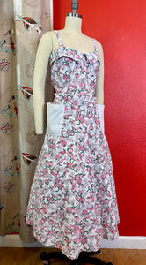 Vintage 1950s Dress • Cute Waffle Weave Cotton Fruit Print Sun Dress with Pockets • Large