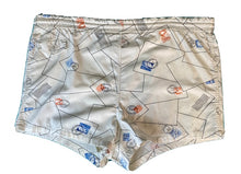 Load image into Gallery viewer, Vintage 1950s Shorts • Novelty Print Letters Post Office Stamps Swim Trunks • Small to Medium