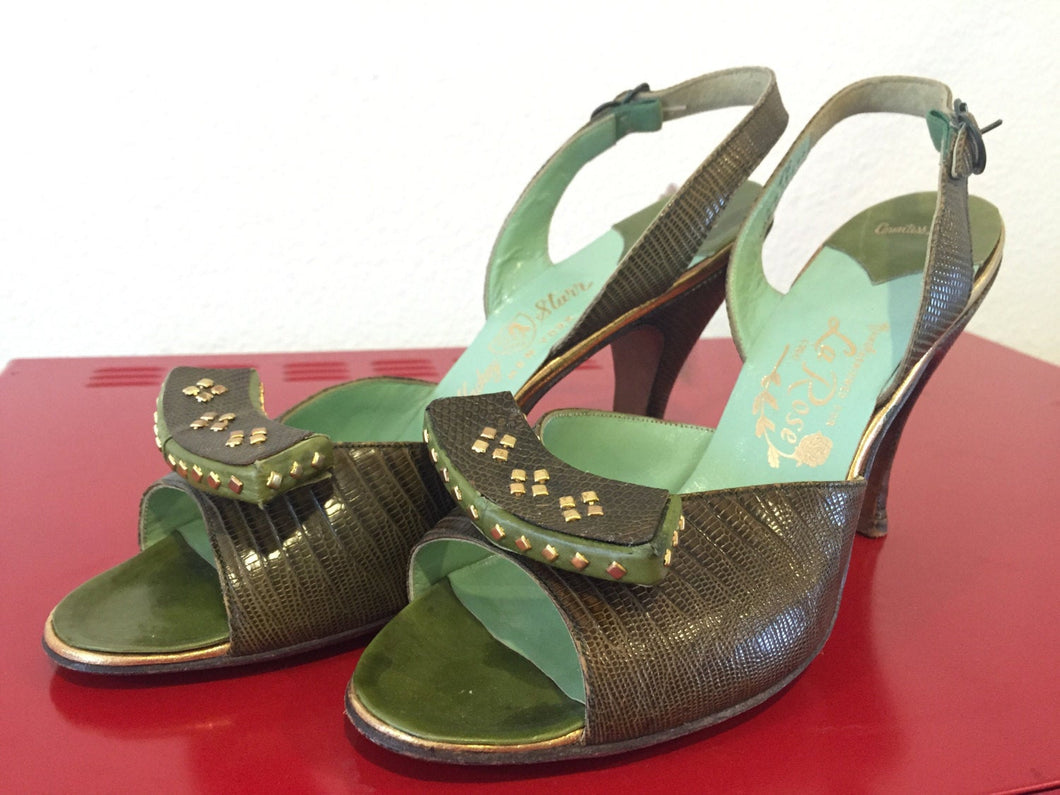 Vintage 1950s Heels - Studded Brown Lizard with Green Leather & Gold - Studs - 6.5