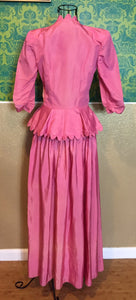 Vintage 1930s Dress • Pink Floor-Length Gown with Large Peplum • Small