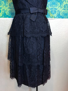 Vintage 1960s Dress • Black Lace Ruffled Party Dress • Small