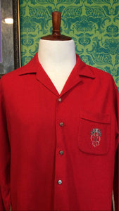 Vintage 1950s Shirt • Men's Red Wool Button Up with Crest • XL