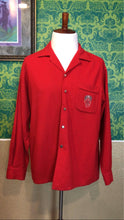 Load image into Gallery viewer, Vintage 1950s Shirt • Men's Red Wool Button Up with Crest • XL