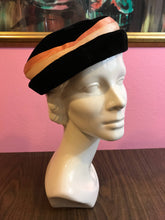 Load image into Gallery viewer, Vintage 1950s Hat - Black Velvet Ladies Formal Hat w Peach Satin Hatband