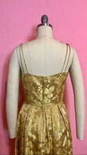 Load image into Gallery viewer, Vintage 1960s Dress • Gold Rose Metallic Wiggle Dress • XS
