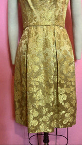 Vintage 1960s Dress • Gold Rose Metallic Wiggle Dress • XS