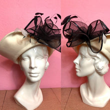 Load image into Gallery viewer, Vintage 1980s Hat • White and Black Formal Ladies Hat