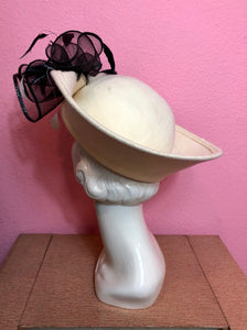 Vintage 1980s Hat • White and Black Formal Ladies Hat