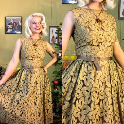 Vintage 1950s Dress • Olive Green Floral Lace Party Dress • Small
